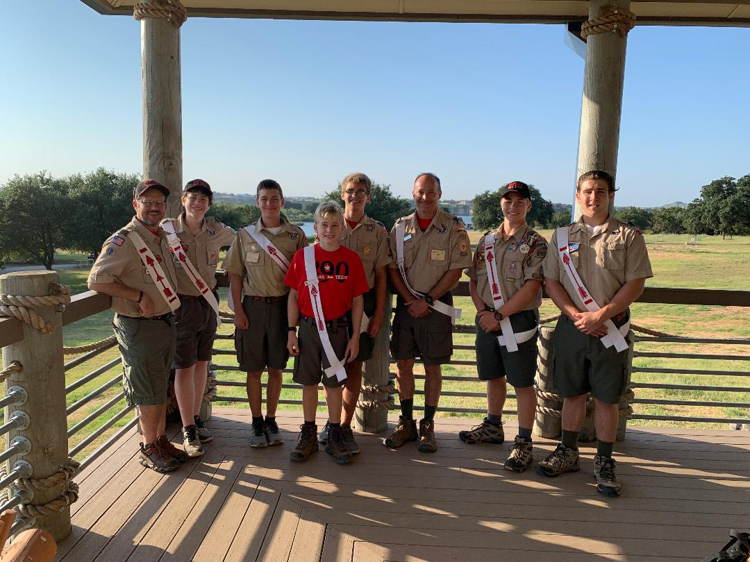 Todd, Max, George, Gavin, Sam, Andy, Xander, and Brody — Sunday morning after August 2019 Ordeal at Camp Constantin.