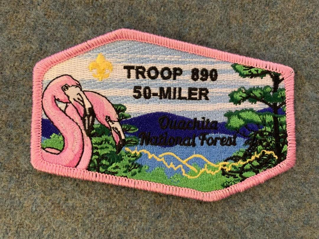 - The also cool 2019 50 Miler patch (can you see the Ouachita Trail?)