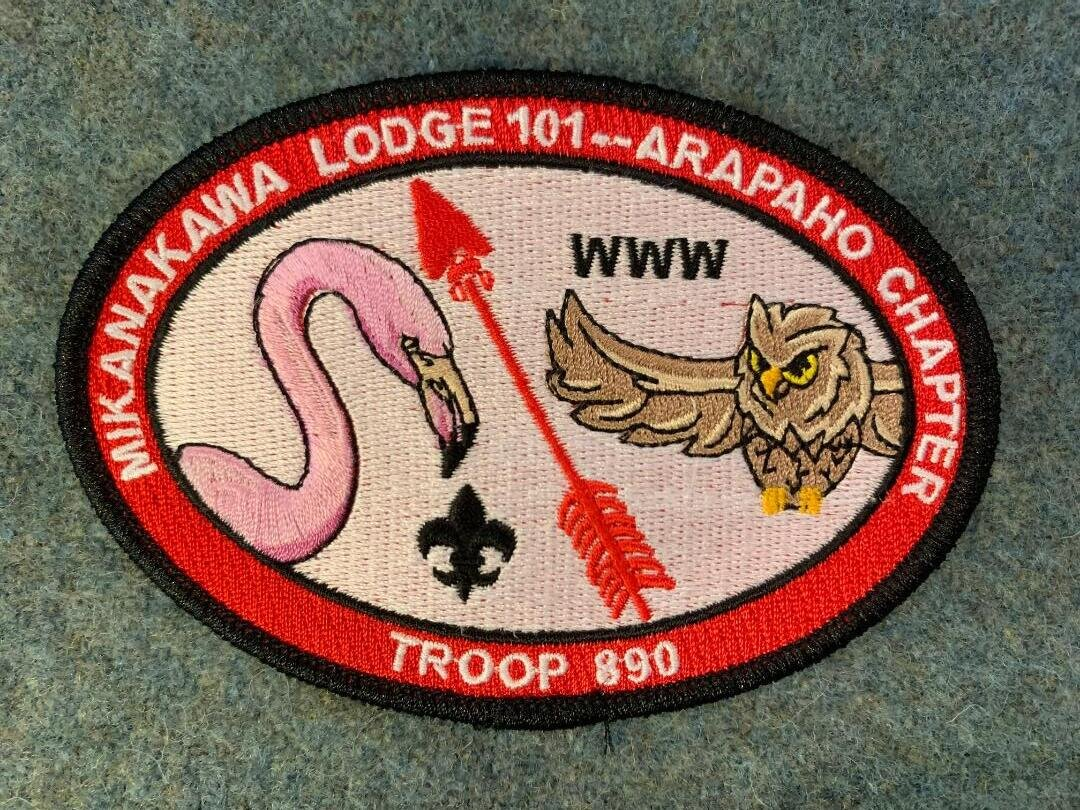 This is the brand new 890 OA oval patch. Rules for this patch are as follows: any 890 OA member (adult or youth) who is current in his or her OA dues will receive 1 patch; for each OA event attended, you will qualify for 1 more patch (examples include Ordeals, Fellowships, Banquets, NOACs, serving as a Chapter, Lodge, or Section officer)(attending Chapter meetings does NOT rise to the level) [retroactivity as determined by the SM]