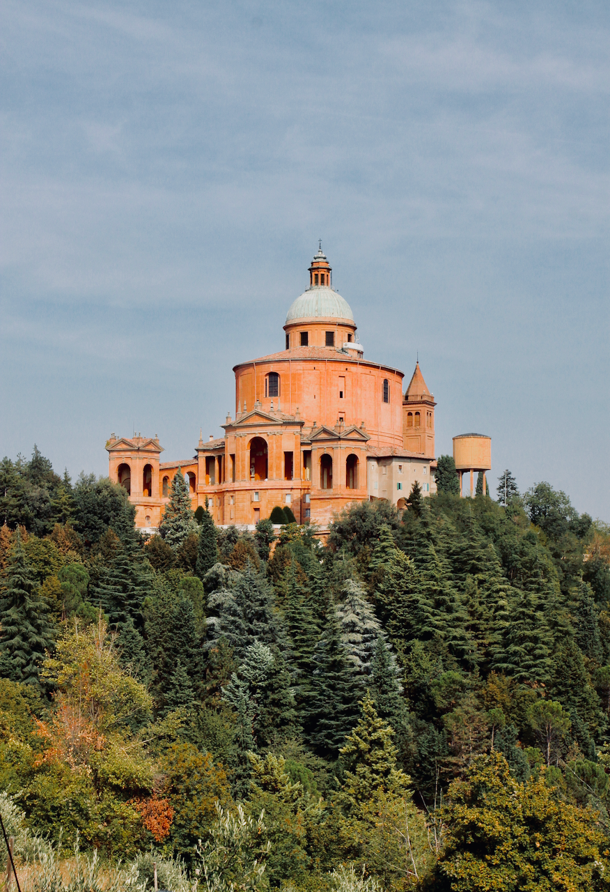 View of Sanctuario di San Luca from across the valley.