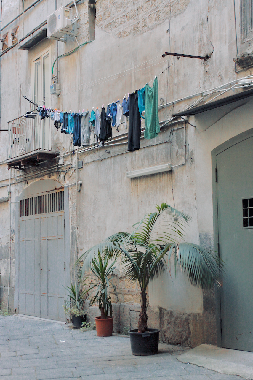 Naples, Italy, clothes hanging in street
