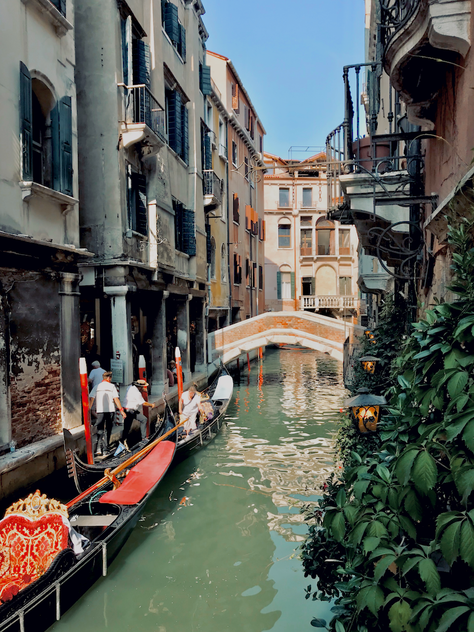 Colourful canals of Venice with lanterns
