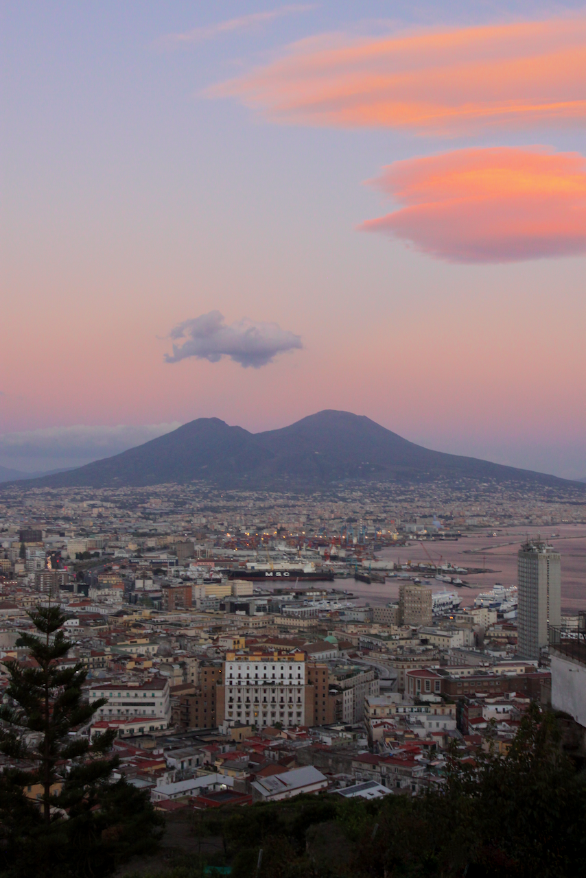 Mount Vesuvius and the city of Naples at sunset