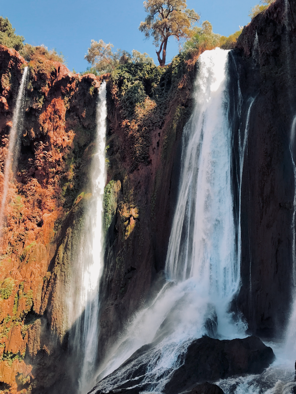 Close up image of the top of the cascade at Ouzoud falls