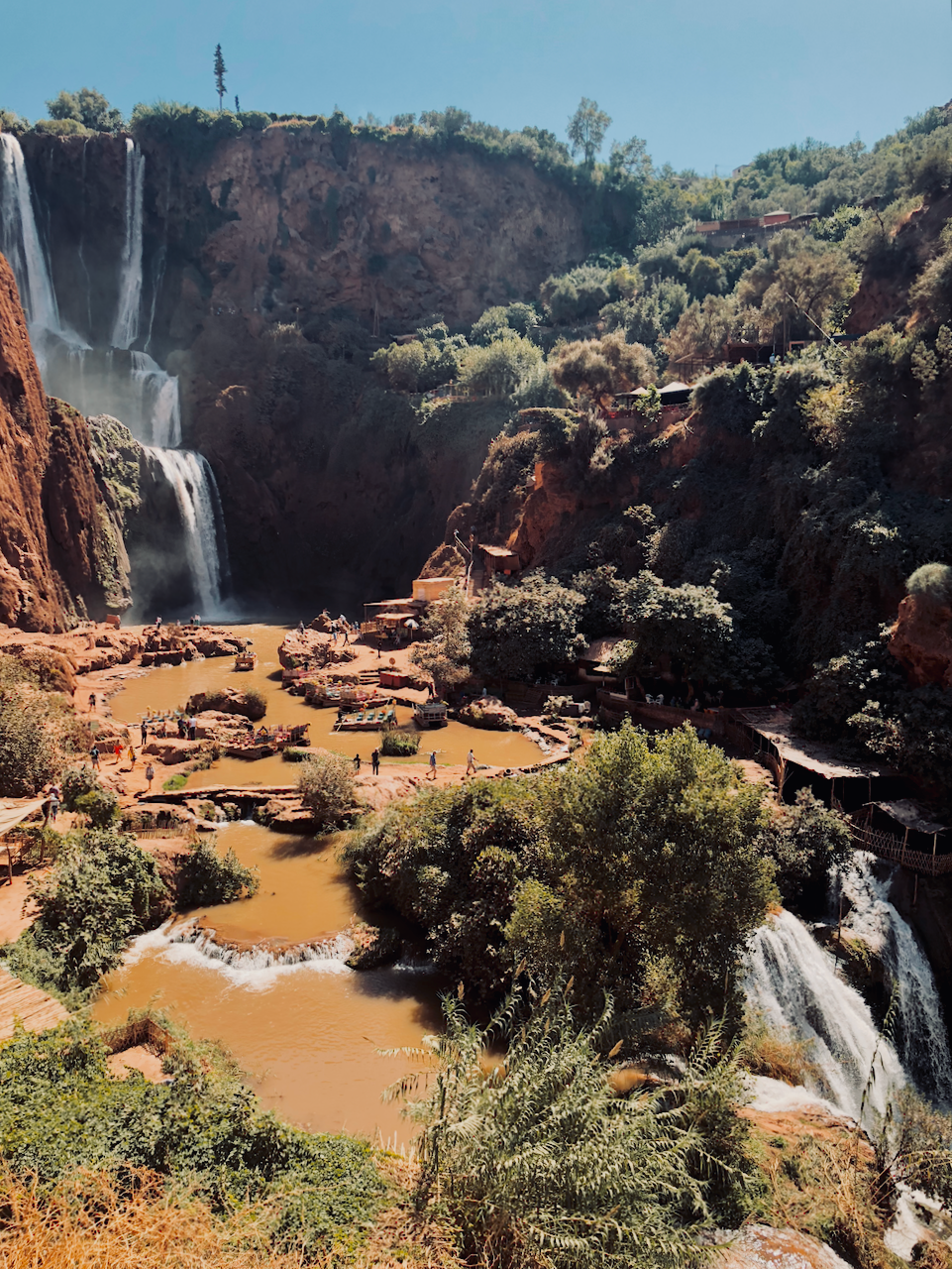View of the cascades and pools at Ouzoud waterfall, North Africa Morocco