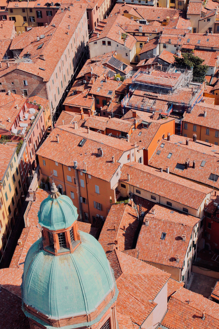 View of orange rooftops and blue domes in Bologna from the Torre degli Asinelli tower