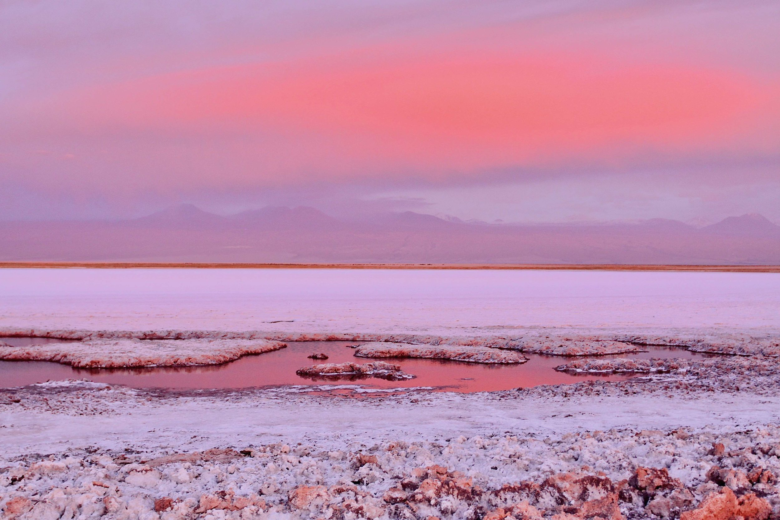 Laguna Tebinquinche at sunset, Atacama Desert Chile