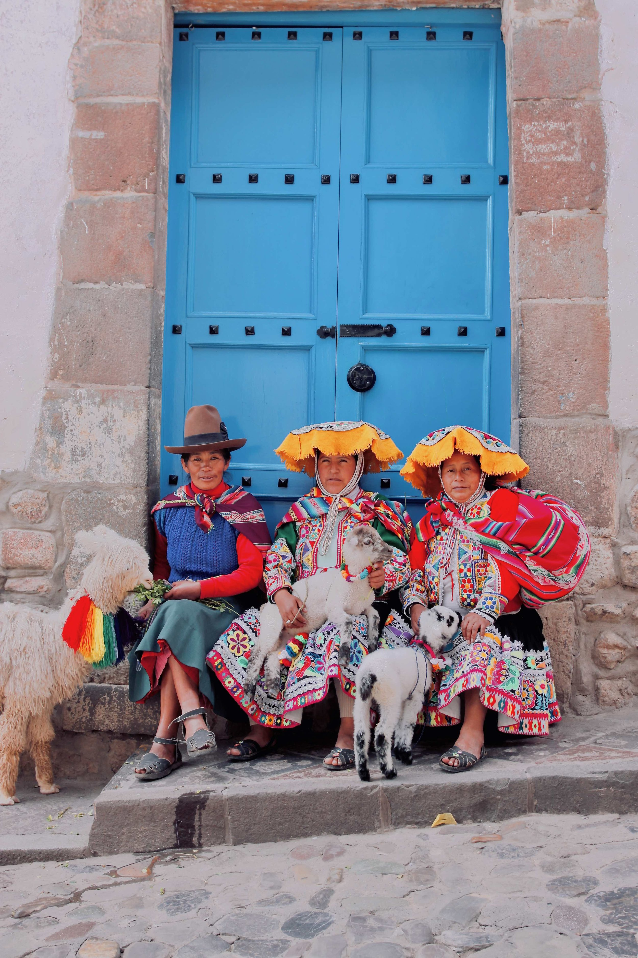 Cusco photo collection llamas and blue doors