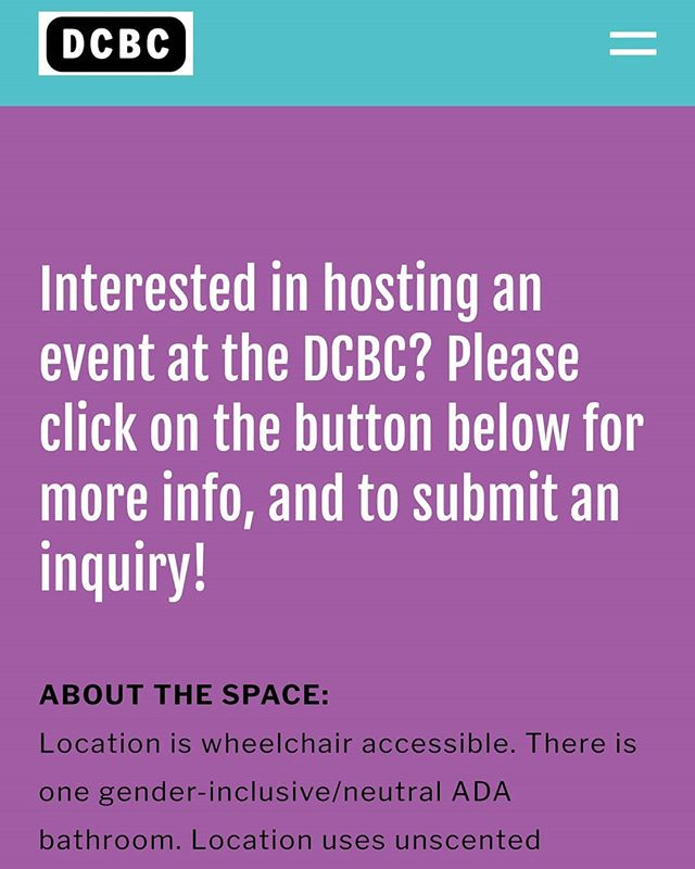 Please consider us for your next event! Our website has more information on how to submit a rental request and a calender to check our availability. Also, we're still looking for volunteers to help us staff the space. Send us a message if you're interested. dcbcpdx.org