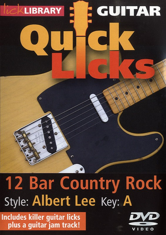 12 Bar Country Rock Albert Lee - Product genres: Rock, Country Skill levels: Intermediate to Advanced Key: ASeries: Lick LibraryFormat: DVDAuthor: Steve TrovatoLearn rockabilly licks in the style of Brian Setzer, the Stray Cats frontman and an unrivaled king of rockabilly guitar! Also includes a guitar jam track. Lessons by Steve Trovato. Each Quick Licks DVD includes an arsenal of licks in the style of your chosen artist to add to your repertoire, plus backing tracks to practice your new licks and techniques.