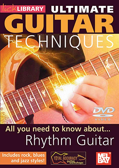 All you need to know about Rhythm Guitar - Product genres: Blues, Rock, Jazz, Technique, Latin Skill level: Suitable for allSeries: Lick LibraryFormat: DVDLearn to play cool rhythm patterns with Steve Trovato and Richard Smith This groundbreaking DVD teaches you all you need to know to become a one piece rhythm section, combining percussive techniques and chord progressions! Styles covered include Rock, Blues, Jazz and Latin grooves!