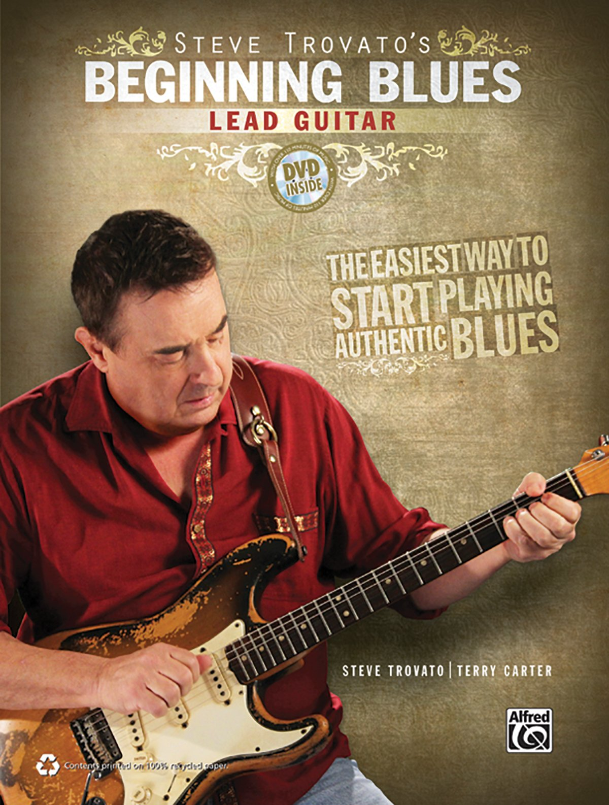 Beginning Blues: Lead Guitar - Whether you are a beginning guitarist or an advanced player just getting into the blues, this book and DVD kit will get you playing authentic blues lead guitar right away. Start with a brief explanation of soloing techniques---such as slides, hammer-ons, pull-offs, bending, vibrato, rakes, and more---then dive right in by playing 18 great blues solos in the styles of legends like Eric Clapton, Albert Collins, Jimi Hendrix, Stevie Ray Vaughan, Albert King, and B. B. King. On the DVD, each solo is dissected and clearly explained by your host, Steve Trovato, and MP3 accompaniment tracks are also included.