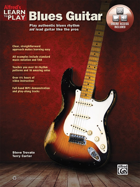 Learn to Play Blues Guitar - Whether you are a beginning guitarist or an advanced player just getting into the style, start playing real blues music right away through easy-to-understand instructions and great-sounding examples. The first part of this book and video covers blues rhythm playing. Learn over 50 blues rhythm patterns, including medium shuffle, uptown blues, slow blues, blues-rock, mambo, and more. The second part covers blues lead guitar. Start with learning basic soloing techniques---such as slides, hammer-ons, pull-offs, bending, vibrato, and rakes---then dive right in by playing 18 great blues solos in the styles of legends like Eric Clapton, Albert Collins, Jimi Hendrix, Stevie Ray Vaughan, Albert King, and B. B. King.