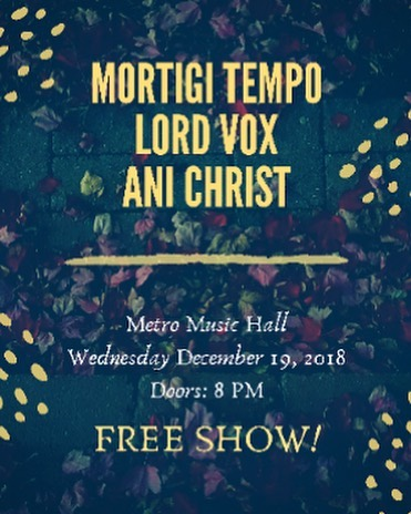 Our next show is December 19th at Metro music hall. Metro rules. SLC hope you're ready. #rocknroll #rock #saltlakecity #metromusic #lordvox #psychedelic