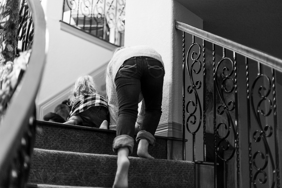 sisters climbing stairs