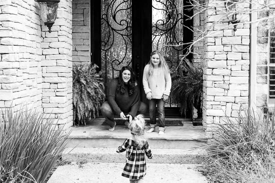 little girl runs home