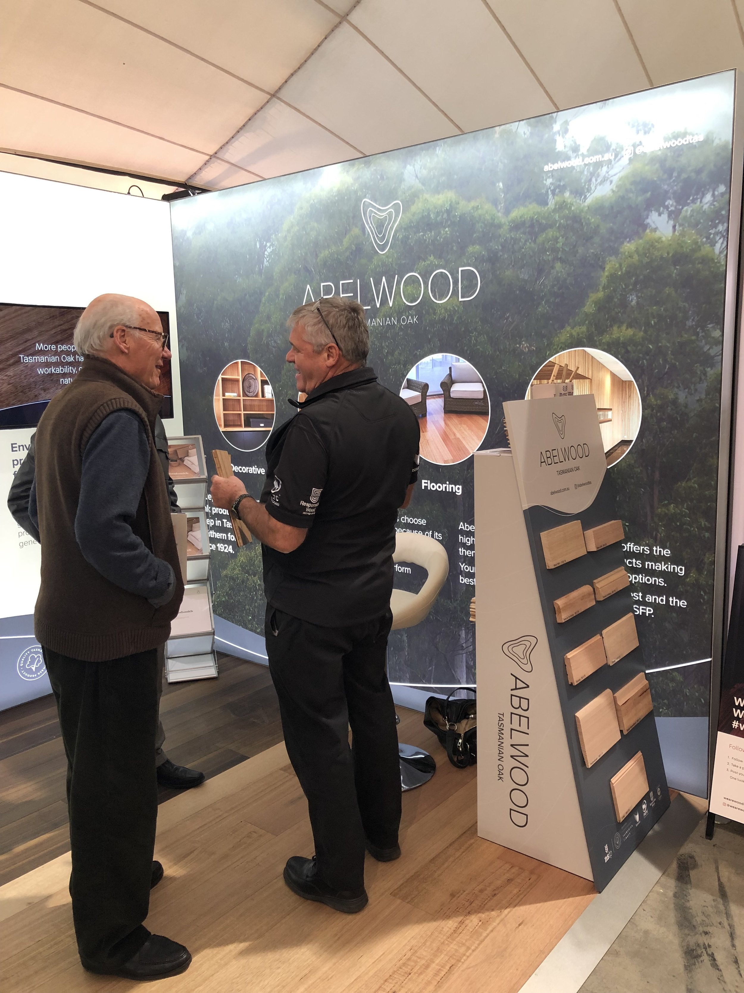 Bruce showing off the latest Abelwood range to a customer last week.