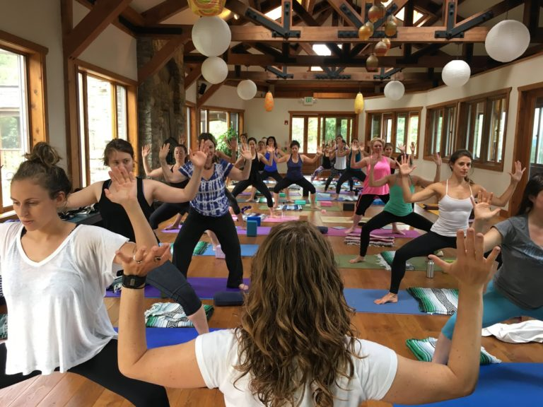 Practicing yoga in the gorgeous lofted cabin.