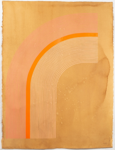 Kelly Ording, Niobe (Coral), acrylic on dyed paper, 30 x 22 in.