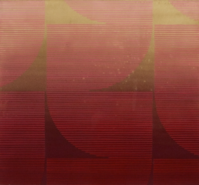 Kelly Ording, Eight Answers to a Problem (Red), acrylic on dyed paper, 26 ¼ x 28 in.