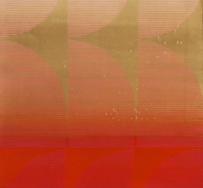 Kelly Ording, Eight Answers to a Problem (Orange Pink), acrylic on dyed paper, 26 ¼ x 28 in.