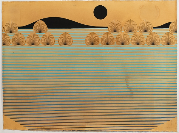Kelly Ording, Dark Sun, Day Sun, acrylic and archival ink on dyed paper, 22 x 30 in.