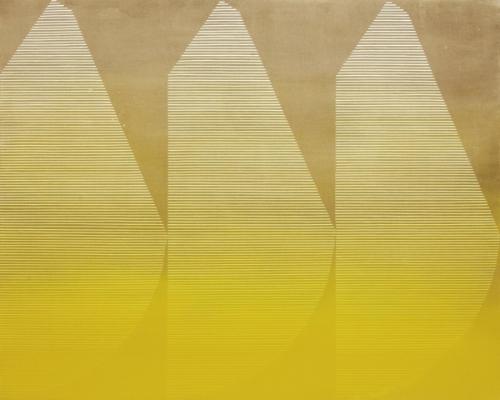 Kelly Ording, Lisbon (Lemon), acrylic on dyed canvas, 48 x 60 in.