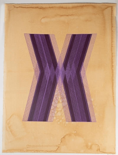 Kelly Ording, Purple X, acrylic on dyed paper, 30 x 22 in.
