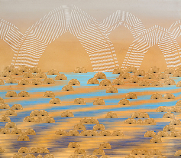 Kelly Ording, Fata Morgana, acrylic and archival Ink on dyed paper, 42 x 48 in.