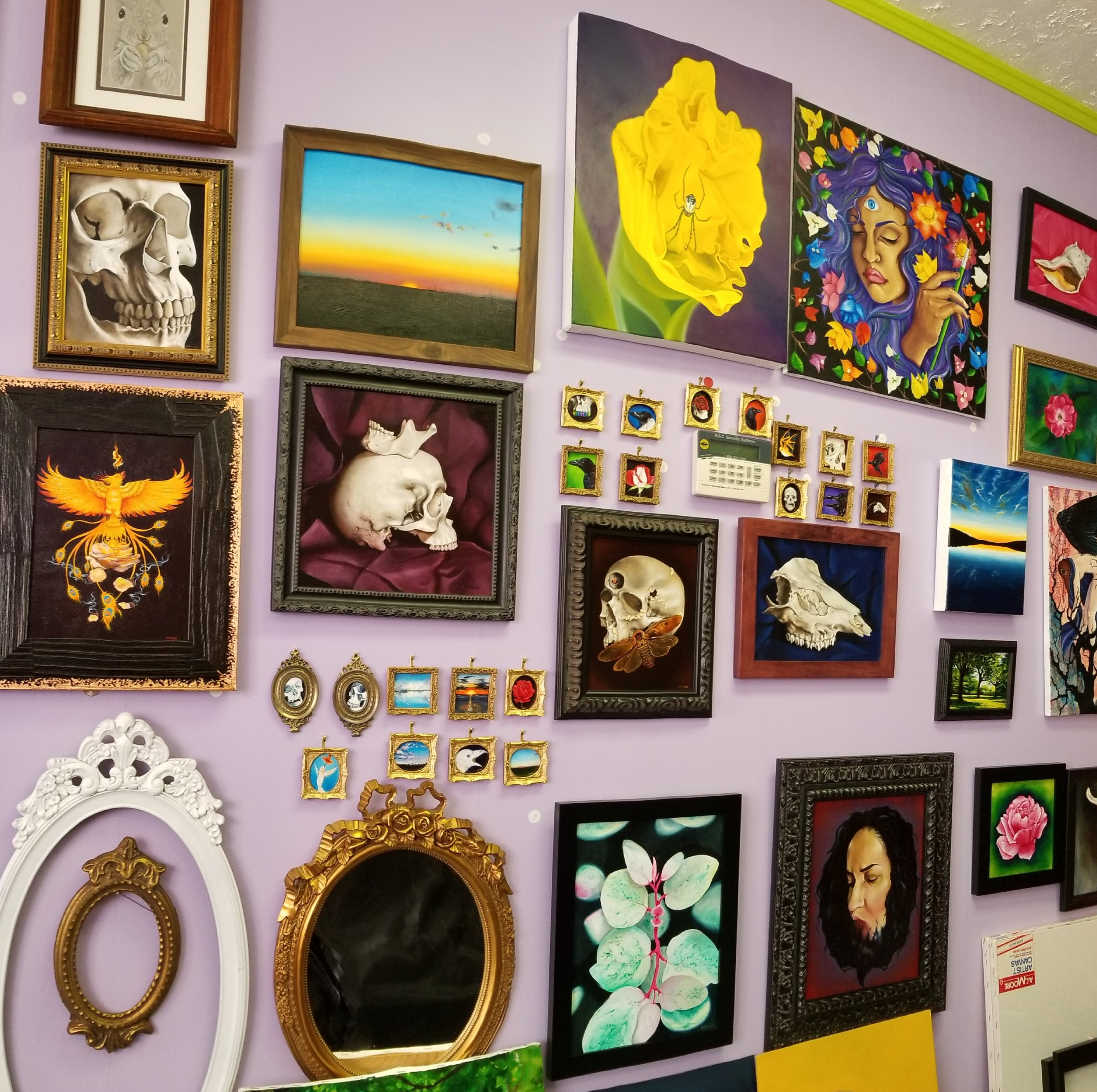 This is a wall in my studio, which is adjacent to the gallery.  There is a doorway that leads to this room.