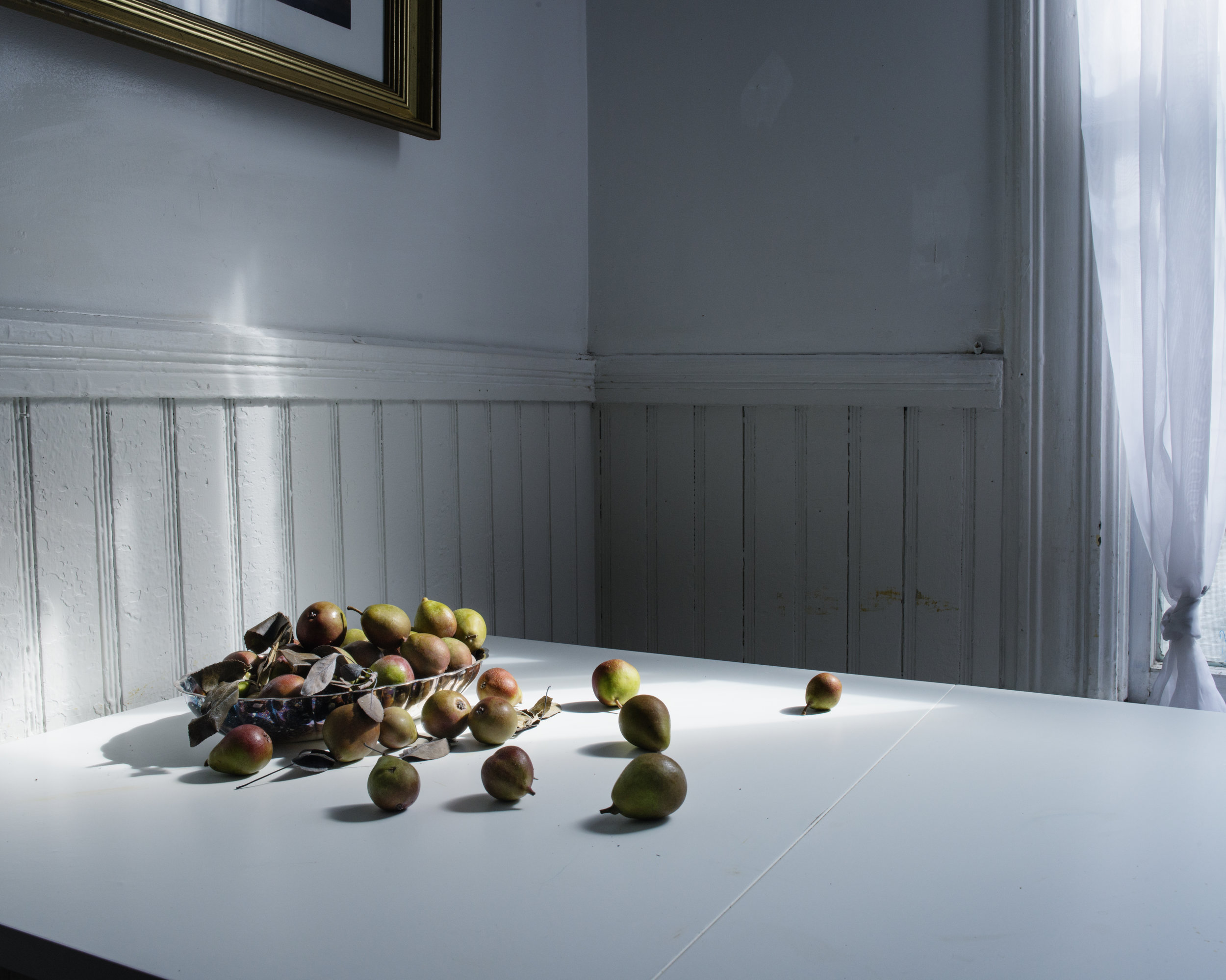 Pears on the kitchen table