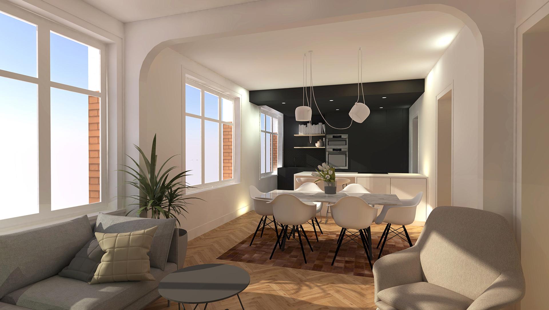 Vue 3D réalisée sous sketchup - Projet de rénovation d'un appartement - LA MADELEINE  BEAR ARCHITECTURE/Maxime DEVOS