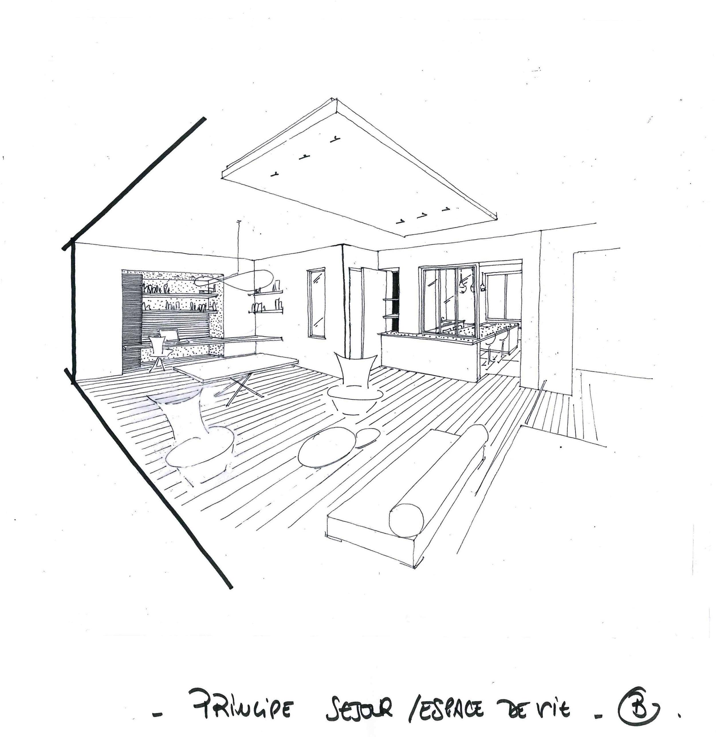 Croquis 3D réalisé à main levée - Rénovation appartement LILLE - Virginie THUROTTE