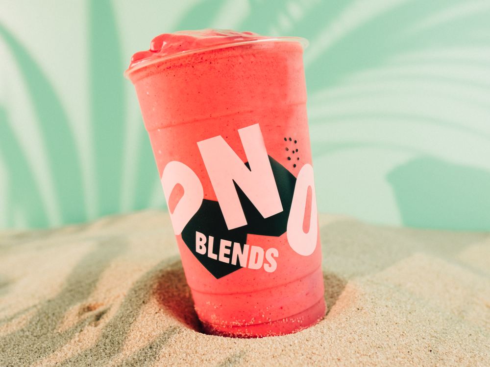 Just the right amount of play. - Dynamic type and bold shapes contrast the bright smoothie colors while product art direction is inspired by Ono's spiritual home in the islands.