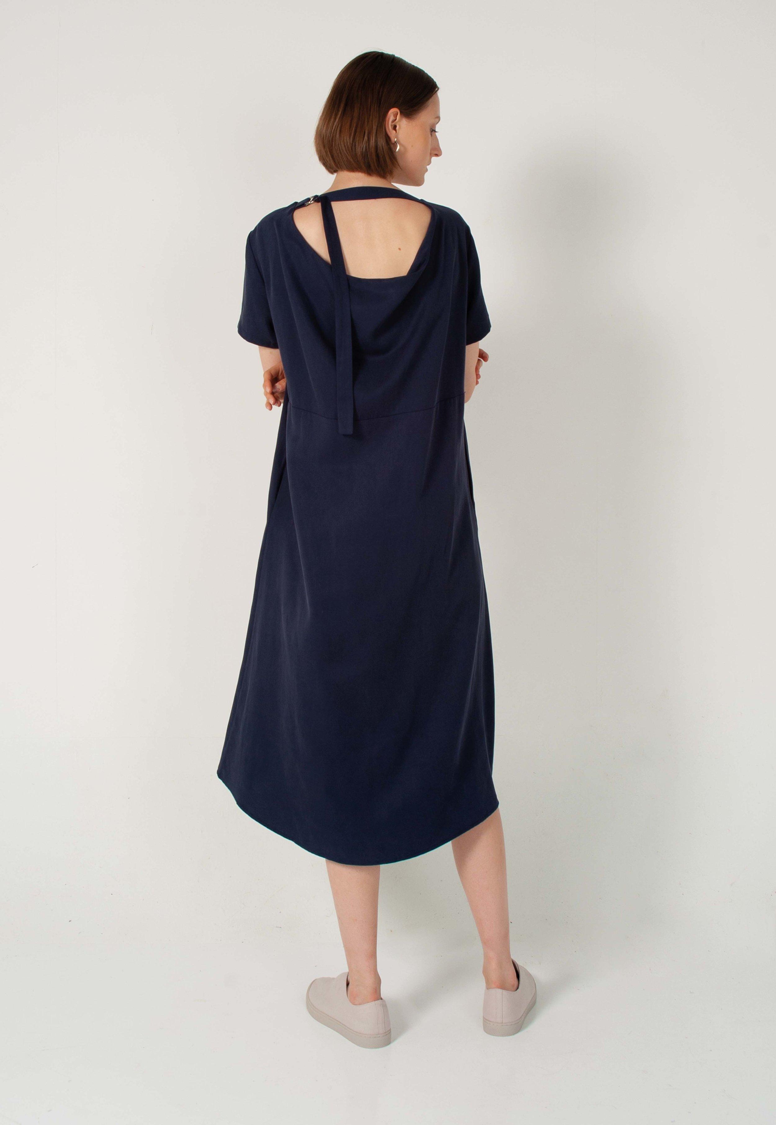 Iva Back Drape Dress In Deep Blue Genue