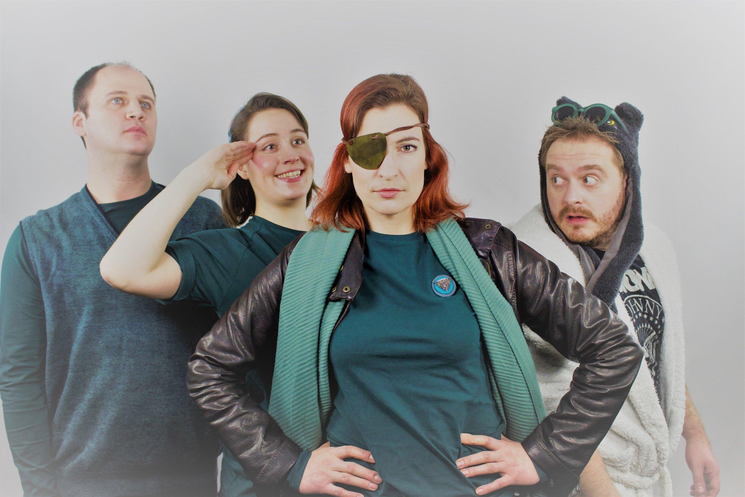 Download cast imageL-R: Max Windich (Burney); Hannah Wilmshurst (Christy); Cate Nunn (Falconer); Ashley Hunt (Lowell) -