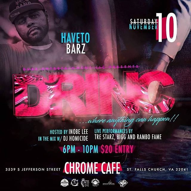 Show some love for @HaveTo216 hell be performing his Hit Single #Barzz in #Virgina St.Falls Church at the Chrome Cafe go enjoy a great #performance!!! #HipHopMusic #Hiphoplives #rapmusic #Global #Billboard200 #Baltimore #DCnightlife #Richmond  #nightlife #WuTang #Management #SME