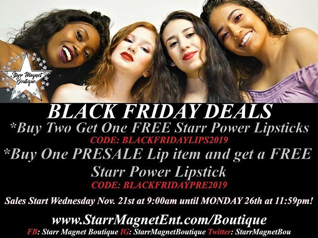Our #BlackFridaySale TODAY until MONDAY!! www.StarrMagnetEnt.com/boutique/ - - - - - #makeup #starrmagnetent #Lipstick #presale #deal #glitter #influencer #mattelip #pink #bretmansvanity #cosmetics #onlinesale #glitterbabe #pink #model #mua #makeupartist  #smallbusiness #entrepreneur #beautyline #cosmeticline