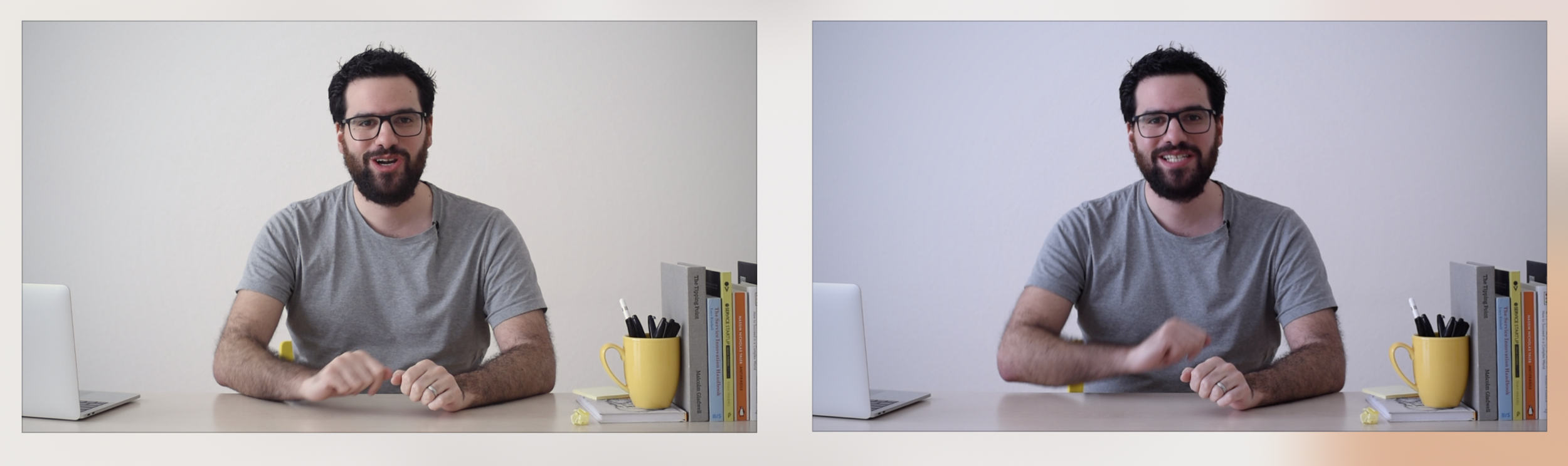 On the left: a color corrected image. On the right the image as it comes out of the camera