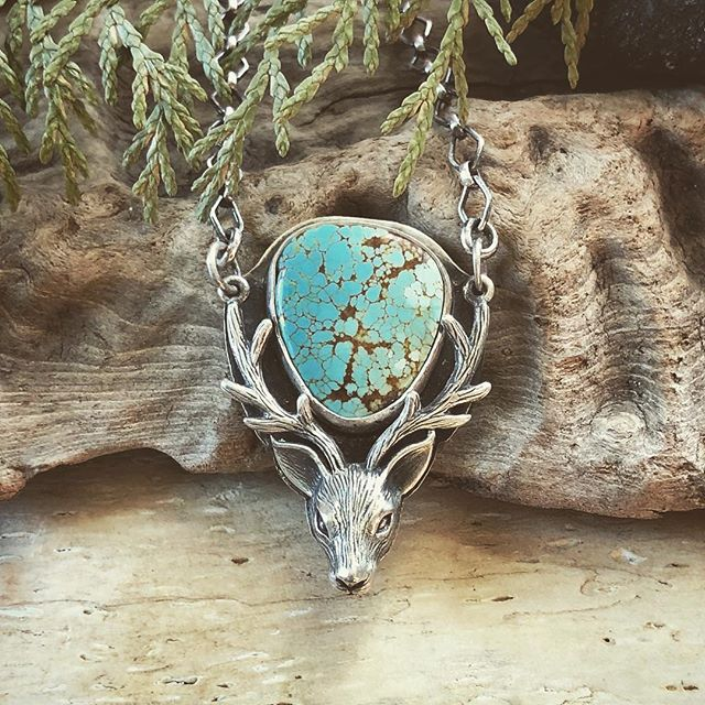 The Stag. Beautiful Number Eight turquoise framed by the antlers of one of nature's most graceful beasts. #lionandlambstudios #stag #antler #antlers #deer #deerantlers #turquoisejewelry #number8turquoise #inspiredbynature #themenageriealameda #madewithlove