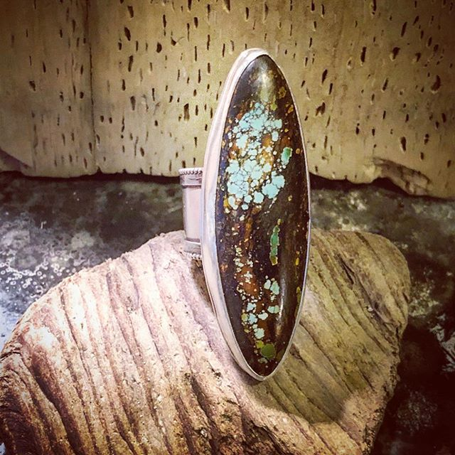 Today is the day! Find me and over 40 other artists at the beautiful and historic Elk's Lodge in Alameda 11-7 for @themenageriealameda , the first east bay marketplace of its kind! I finished up this huuuuge WooDan turquoise ring from @naturalstoneartstudio just in time to bring it with me today. #lionandlambstudios #woodanturquoise #bigassring #turquoisering #statementring #shoplocal #shopsmall #shoplocalalameda #shopalameda #bayareaevents #themenageriealameda #madewithlove