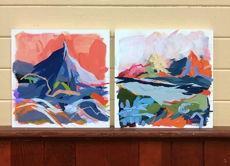 Painting of mountains by local painter.