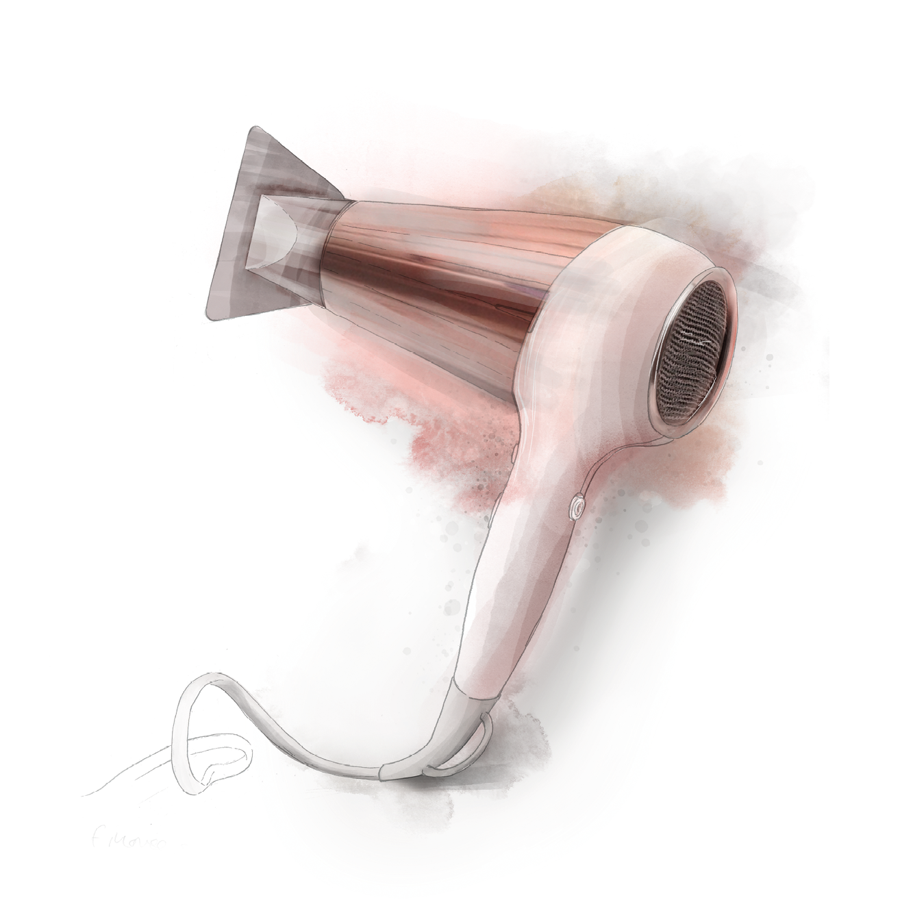 Hair-care - A series of hair-care paraphernalia illustrations for a beauty look book.