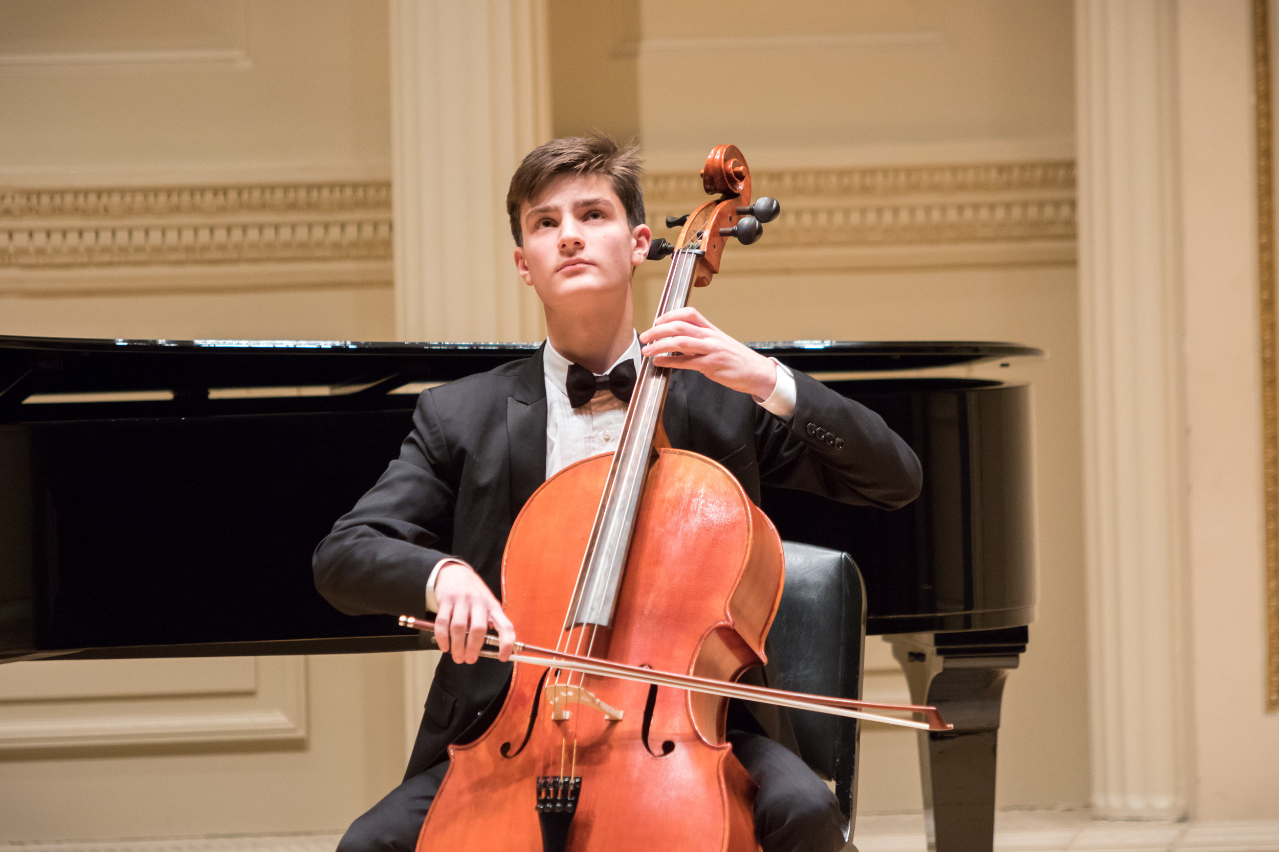 """GIORGIO POMA - 17 year old Giorgio was born in Stockholm, Sweden in 2001, and began playing the cello at the Jr. Conservatory Lilla Akademien in Stockholm, Sweden at the age of six. He currently studies at the Manhattan School of Music Pre-College with Marion Feldman and Emirhan Tunca.Giorgio has given numerous performances including Waldemarsudde, Stockholm, Sweden, Berwaldhallen, Stockholm, Sweden Cirkus Concert Hall in Sweden, Carnegie Hall, Alice Tully Hall and Merkin Concert Hall, where he premiered his own composition """"Generations"""" in honor of those we lost in the Holocaust.Giorgio has been a prize winner in several competitions including the 2018 Rondo Competition, The 2018 Fiorello H. LaGuardia High School Concerto Competition, 2017 Regina Rubinoff award for strings, The East Coast International Competition and Rovere d'Oro in San Bartolomeo, Italy. Giorgio has also performed for the royal family of Sweden and for the Nobel Foundation. Giorgio has participated in several festivals including O/Modernt Festival in Stockholm, Sweden and the Gotland Festival in Gotland, Sweden. Giorgio was grateful to receive the Fiorello H. LaGuardia Alumni &Friends Stephen Kates Memorial Cello Scholarship (June 2018). Giorgio attended on scholarship the Boston University Tanglewood Institute- Young Artist Orchestra program this past summer 2018. In October 2018 Giorgio received the Manhattan School of Music Marion Feldman Scholarship."""