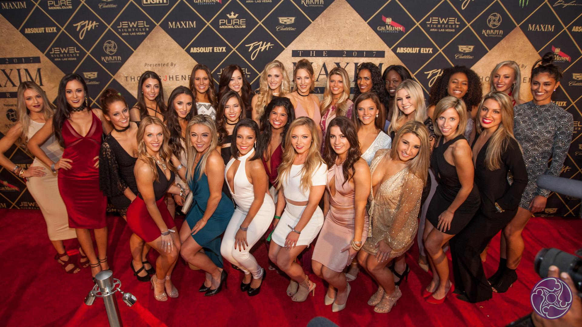 The New England Patriots Cheerleaders at the 2017 Maxim Super Bowl Party