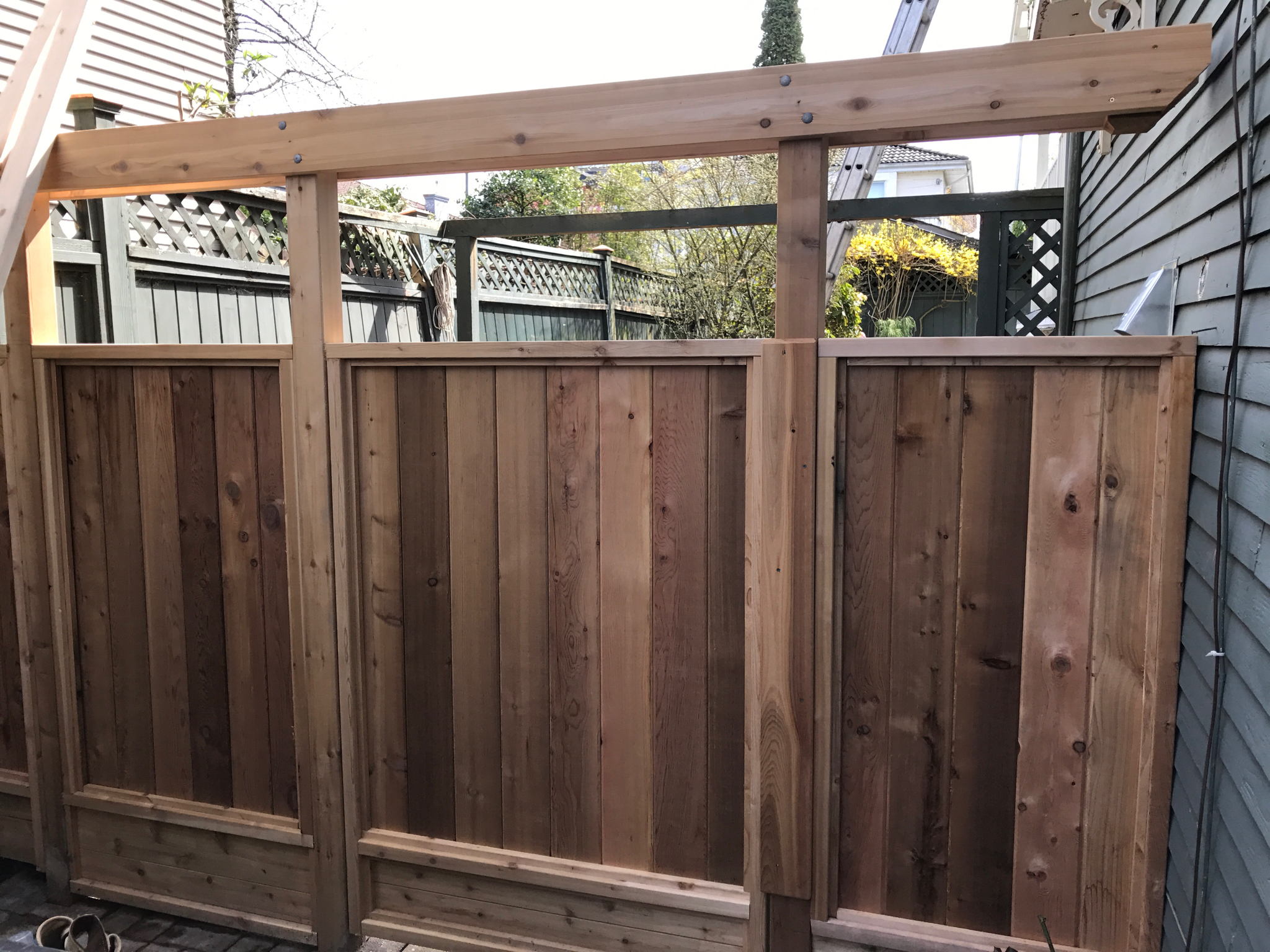 New entry to rear yard and pergola
