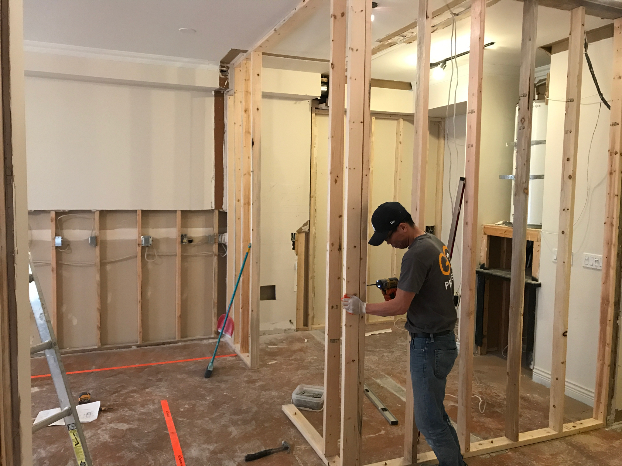 Framing of a new kitchen wall fro Sanctuary Cafe