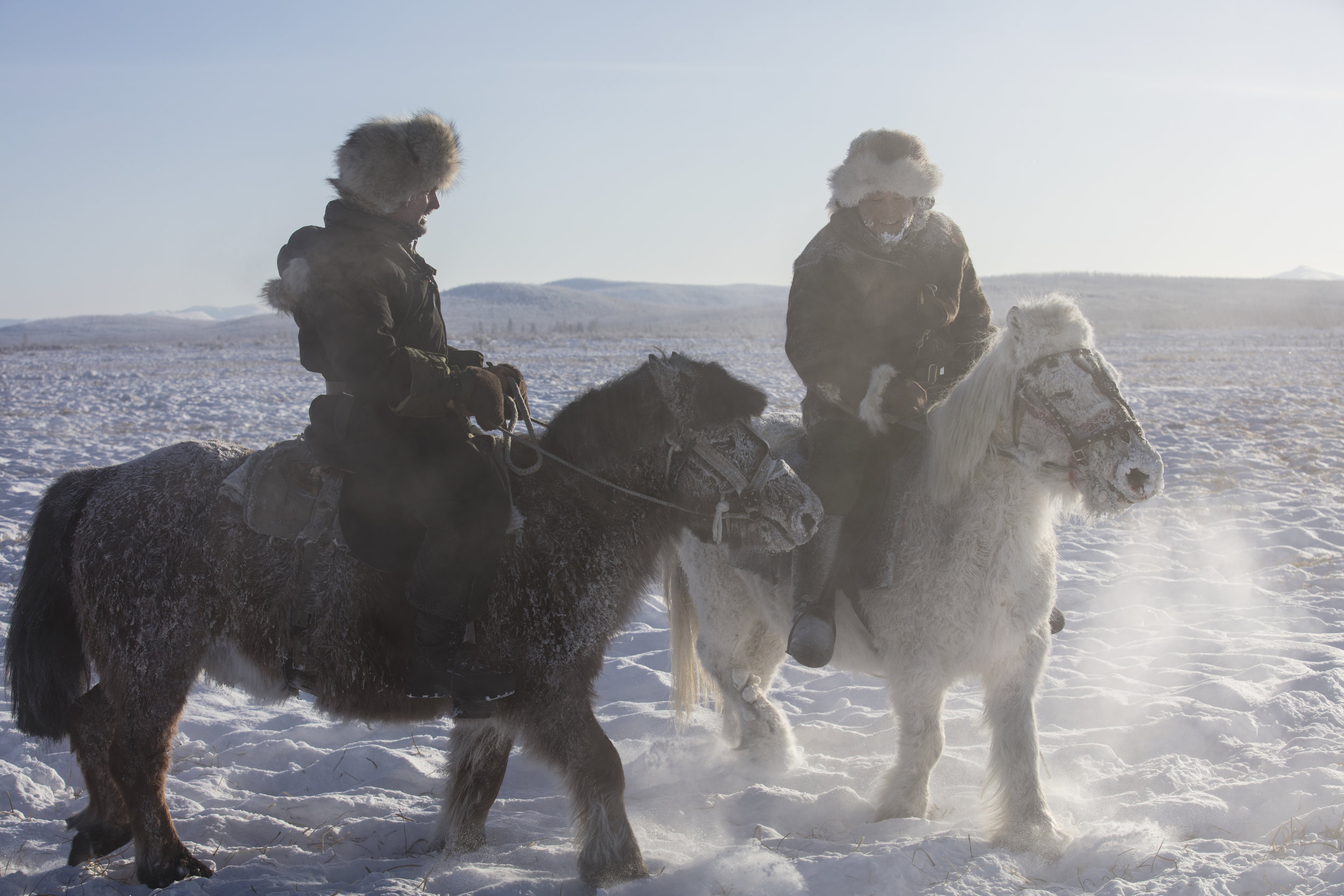 Niobe Thompson (L) with Alexei Vinokurov on Yakutian Horses near Oymyakon, Siberia, -45C.jpg