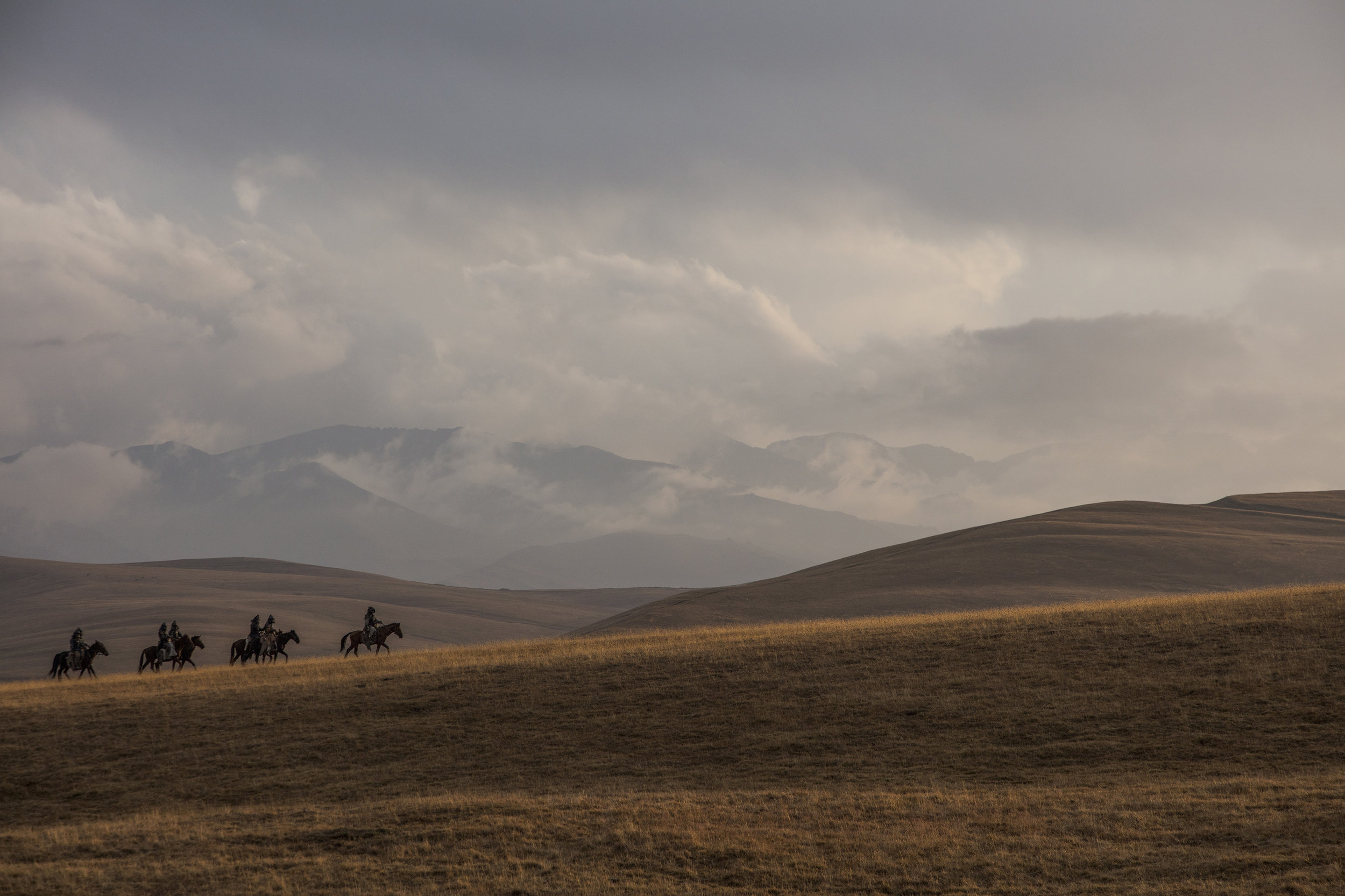 Yamnaya riders on the horizon, Assy Plateau, Tien Shan Mountains, Kazakhstan.jpg