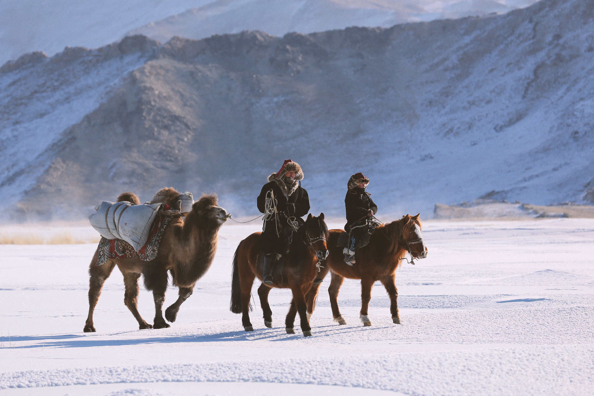 Auez (L) and his son Janibek, starting the winter migration in the Mongolia's Altai Mountains_BOY_NOMAD_Niobe_Thompson.jpg